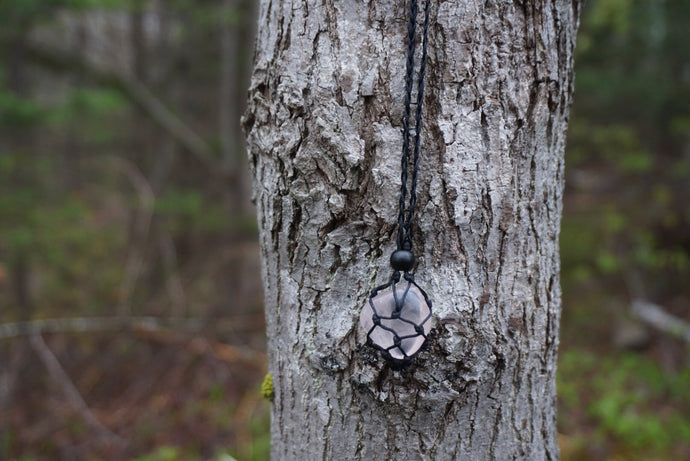 Intentional Healing Rose Quartz Macrame Necklace