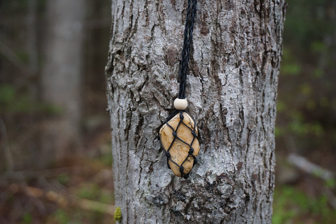Intentional Healing Picture Jasper Macrame Necklace