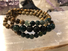 Load image into Gallery viewer, Intentional Healing Picture Jasper, Green Moss Agate, and Lava Stone Triple Stack