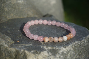 Intentional Healing Rose Quartz Moonstone Gemstone Bracelet