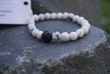 Load image into Gallery viewer, Intentional Healing Howlite and Lava Stone Diffuser Bracelet