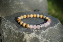 Load image into Gallery viewer, Intentional Healing Rose Quartz and Picture Jasper Gemstone Bracelet