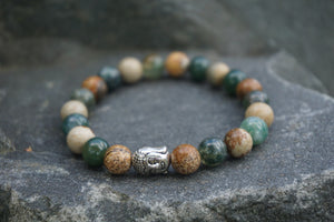 Intentional Healing Picture Jasper and Green Moss Agate Gemstone Bracelet