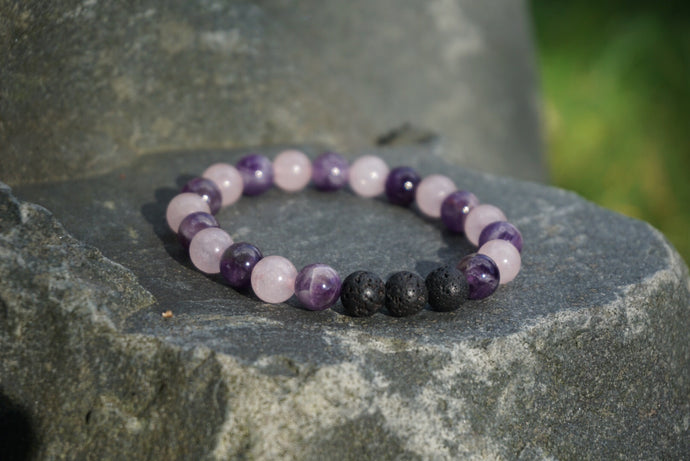 Intentional Healing Amethyst, Rose Quartz and Lava Stone Gemstone Bracelet