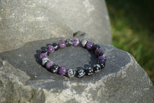 Load image into Gallery viewer, Intentional Healing Snowflake Obsidian and Amethyst Gemstone Bracelet