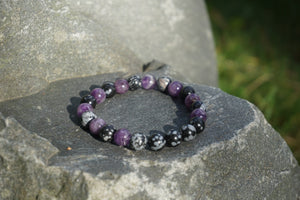 Intentional Healing Snowflake Obsidian and Amethyst Gemstone Bracelet