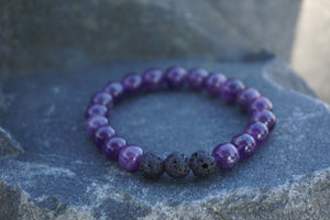Intentional Healing Amethyst and Lava Stone Diffuser Bracelet