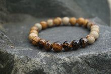 Load image into Gallery viewer, Intentional Healing Picture Jasper and Tiger's Eye Gemstone Bracelet