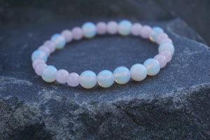 Intentional Healing Rose Quartz and Opalite Gemstone Bracelet
