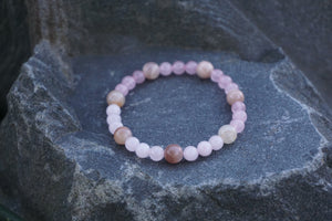 Intentional Healing Rose Quartz and Moonstone Gemstone Bracelet