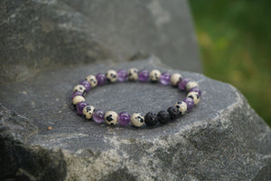 Intentional Healing Amethyst, Dalmatian Jasper, and Lava Stone Gemstone Bracelet
