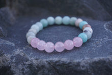Load image into Gallery viewer, Intentional Healing Rose Quartz and Amazonite Gemstone Bracelet