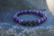 Load image into Gallery viewer, Intentional Healing Amethyst and Lava Stone Diffuser Bracelet