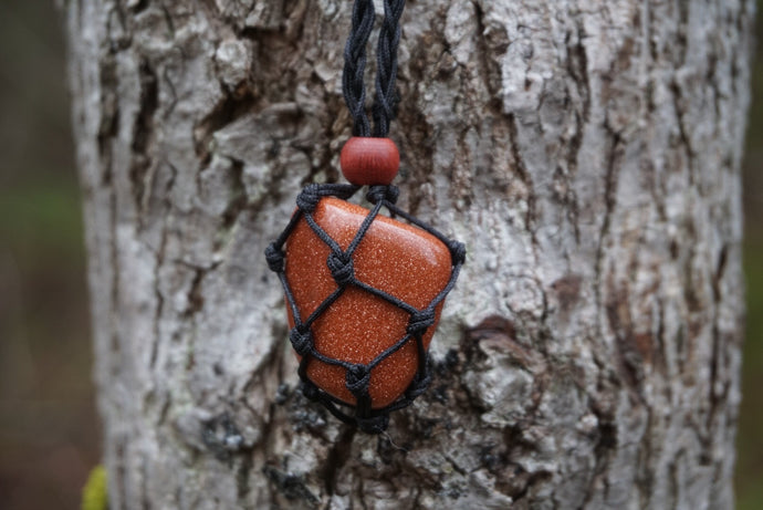 Intentional Healing Goldstone Macrame Necklace