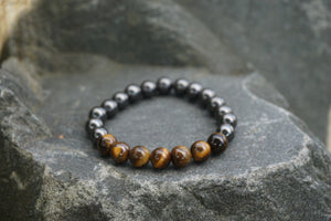 Intentional Healing Tigers Eye and Hematite Gemstone Bracelet