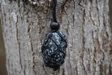 Load image into Gallery viewer, Intentional Healing Snowflake Obsidian Macrame Necklace