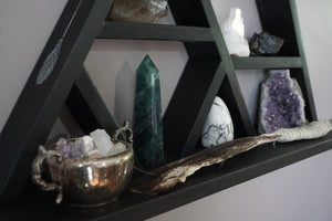 Large Feather and Arrow Wide Base Crystal Mountain Shelf