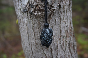 Intentional Healing Snowflake Obsidian Macrame Necklace