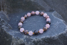 Load image into Gallery viewer, Intentional Healing Rose Quartz and Rhodonite Gemstone Bracelet