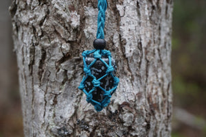 Intention Healing Snowflake Obsidian Macrame Necklace