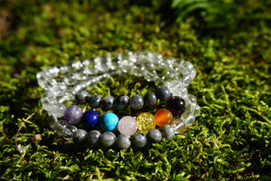 Intentional Healing Chakra Labradorite Gemstone Necklace/Triple Stack