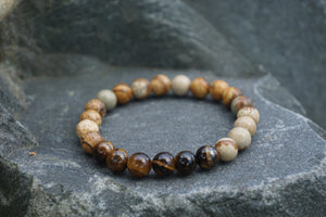 Intentional Healing Picture Jasper and Tiger's Eye Gemstone Bracelet