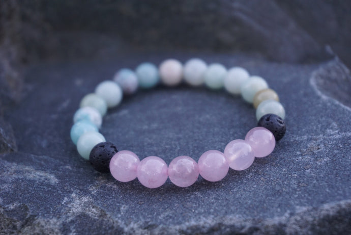 Intentional Healing Amazonite, Rose Quartz, and Lava Stone Diffuser Bracelet