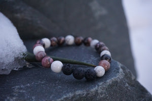 Intentional Healing Rhodonite, Howlite and Lava Stone Diffuser Bracelet