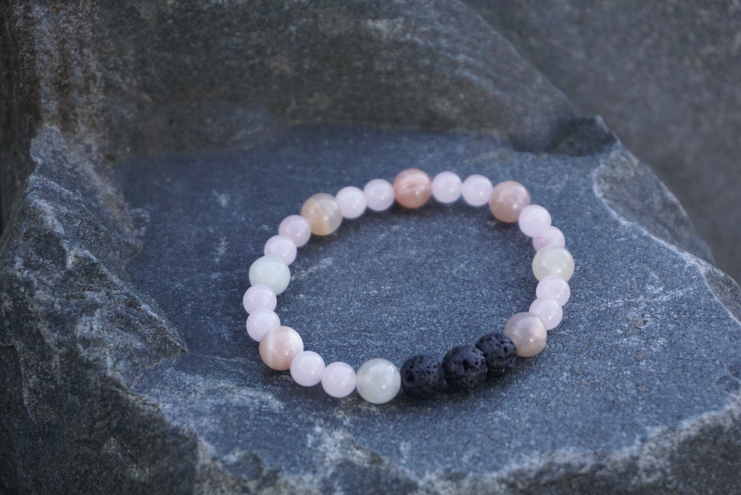 Intentional Healing Moonstone, Rose Quartz, and Lava stone Diffuser Bracelet