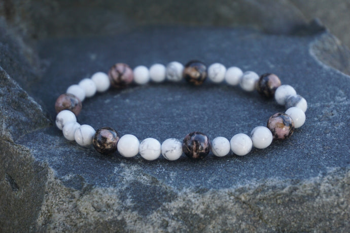 Intentional Healing Rhodonite and Howlite Gemstone Bracelet