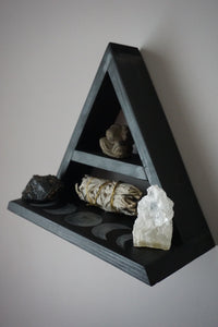 Small Moon Phases Wide Base Triangle Shelf