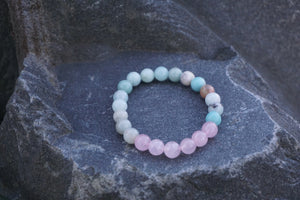 Intentional Healing Rose Quartz and Amazonite Gemstone Bracelet