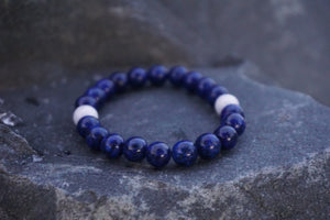 Intentional Healing Lapis and Howlite Gemstone Bracelet