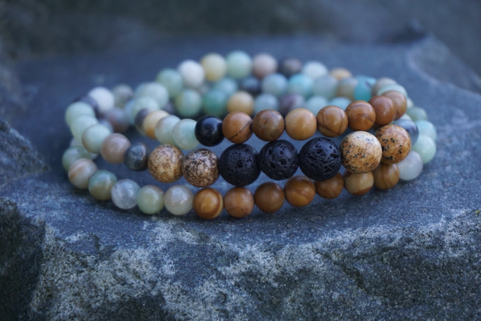 Intentional Healing Amazonite, Gold Lace Agate, Picture Jasper and Lava Stone Triple Stack/necklace