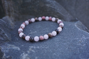 Intentional Healing Rose Quartz and Rhodonite Gemstone Bracelet