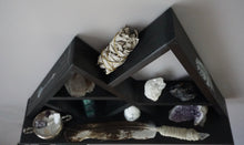 Load image into Gallery viewer, Large Feather and Arrow Wide Base Crystal Mountain Shelf