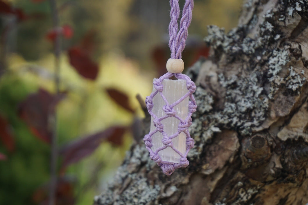 Intentional Healing Selenite Macrame Necklace