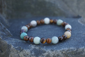 Intentional Healing Amazonite and Tiger's Eye Gemstone Bracelet