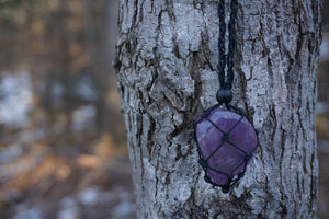 Intentional Healing Amethyst Macrame Necklace