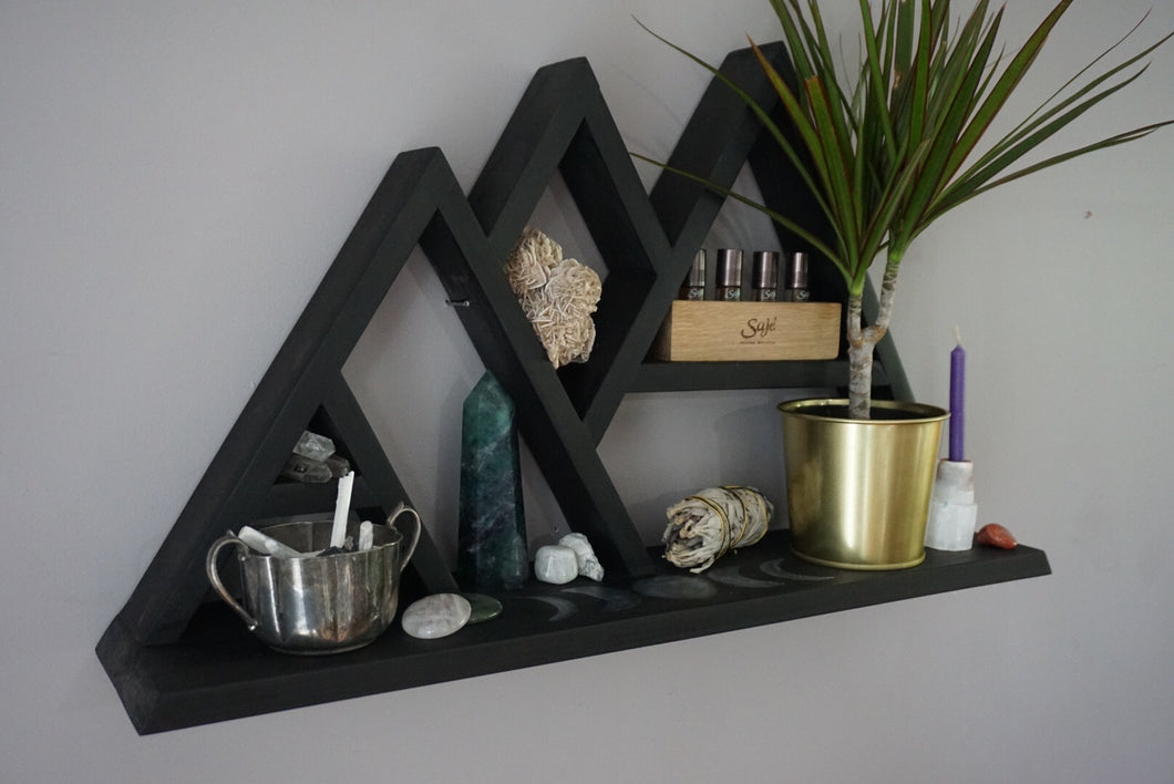 Large Moon Phases with Wide Base Mountain Crystal Shelf