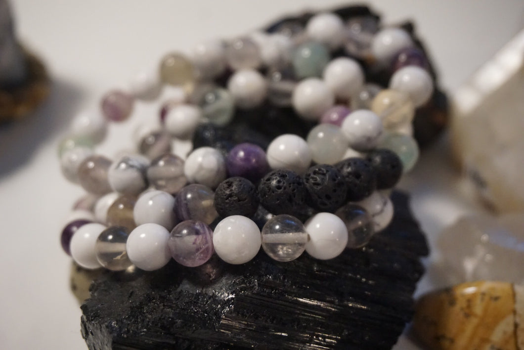 Intentional Healing Fluorite, Howlite, and Lava Stone Triple Stack