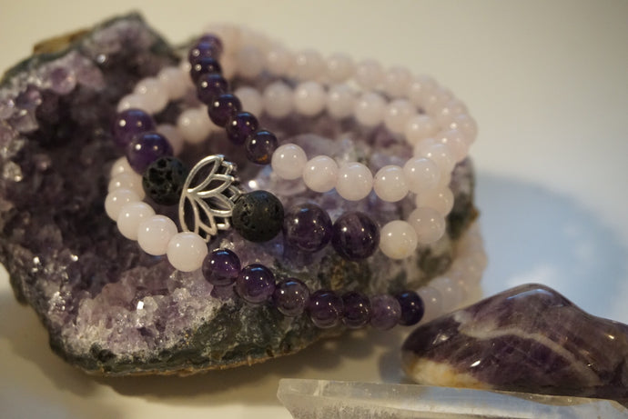 Intentional Healing Rose Quartz, Amethyst, and Lava Stone Triple Stack