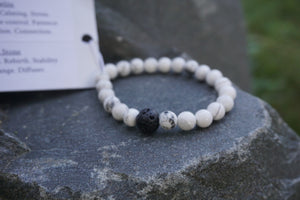 Intentional Healing Howlite and Lava Stone Diffuser Bracelet