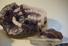 Load image into Gallery viewer, Intentional Healing Rose Quartz, Amethyst, and Lava Stone Triple Stack