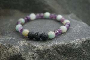 Intentional Healing Amazonite, Amethyst and Lava Stone Gemstone Bracelet