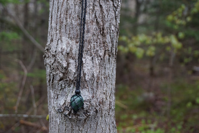 Intentional Healing Green Moss Agate Macrame Necklace