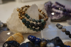 Intentional Healing Picture Jasper, Green Moss Agate, and Lava Stone Triple Stack