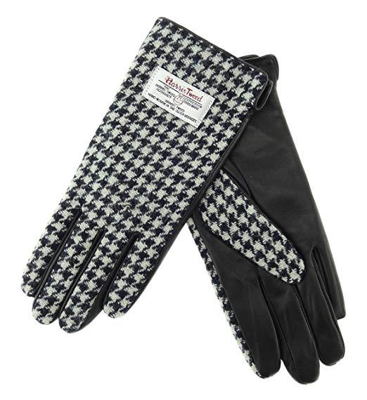 Glen Appin Ladies Black Leather & Tweed Gloves Black & White Dogtooth