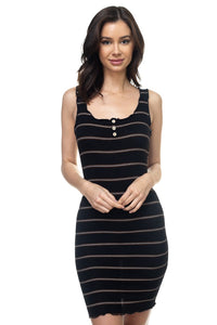 Stripe Bodycon Ribbed Dress