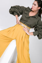 Load image into Gallery viewer, One Side Ruffle Neck Gather Puff Sleeve Button Down Blouse
